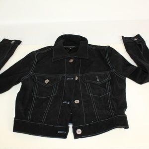 Jean Jacket Faux Suede Flocked Black w Blue Stitch